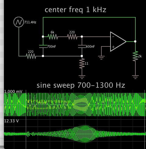bandpass filter 2 caps 1 opamp 1k ctr freq sine sweep 700-1300.png