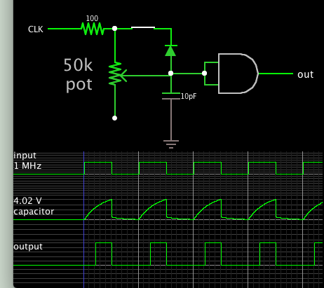 clock 1MHz delay and shorten via pot cap diode logic gate.png