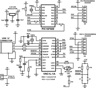 Circuit Diagram for USB Flash Drive reader..