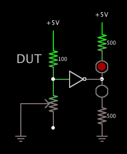 invert-gate acts as comparator of 2 resis (output is 2 led's).png