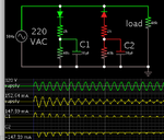 cap-resis-diode x2 draw 150mA load fm mains AC then reduces current.png
