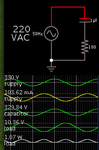 capacitive 1uF drop 220VAC mains to 100mA peak at 100 ohm resis.png