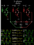 3-phase delta 3 half-bri 5V square-ish waves to 3 loads 4 ohm each.png