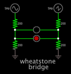 Wheatstone bridge compares 2 voltages (output is 2 anti-parallel led's).png