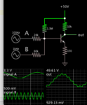 two signals mixed into class A amplifier NPN 50V supply.png