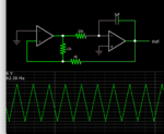 triangle wave generator 2 op amps 6V bipolar AC (from Falstad menu).png