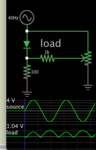 full-wave rectification using one diode with resistors.png