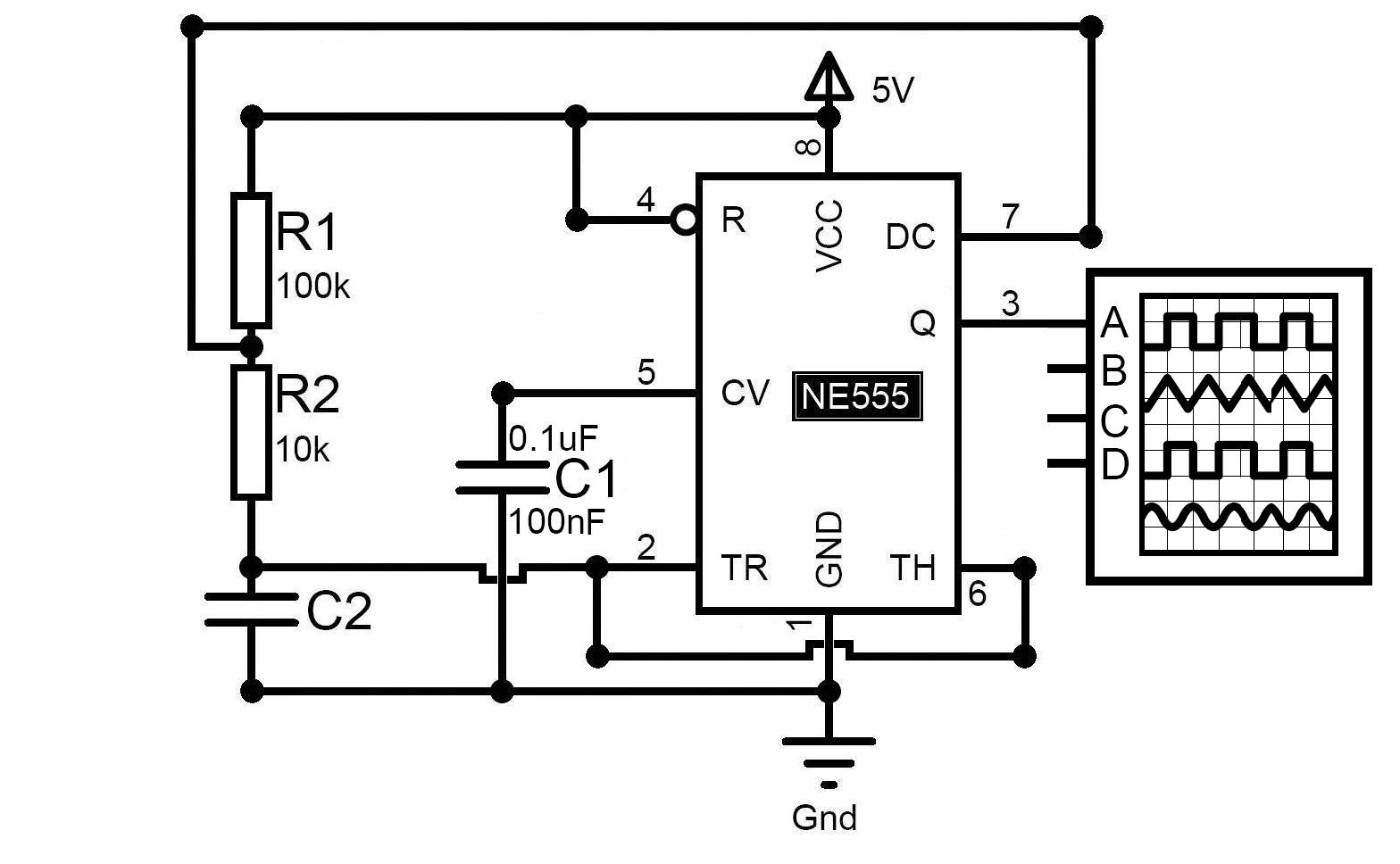 Schematic NE555 Clock Generation Circuit